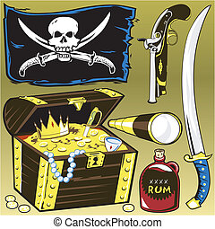 Pirate Plunder - A pirate themed object clip art collection