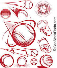 Baseball Collection - Clip art collection of baseball icons...