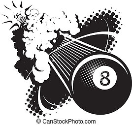Sonic Boom Eight Ball - A flying 8-ball breaking the sound...