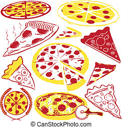 Pizza Collection - Various styles of red and yellow pizza...