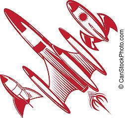 retro, vermelho, foguetes