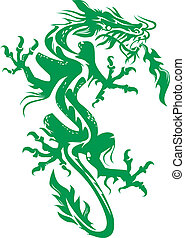 Jade Dragon - A tattoo like image of a green dragon