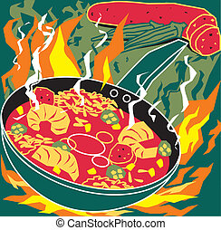 Flaming Jambalaya - Stylized art of cajun or creole cooking