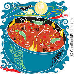 Chili Soup - Stylized art of chili soup and ingredients