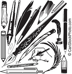 Pens and Pencils - Clip art collection of various pens and...