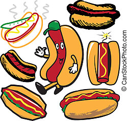 Hot Dogs - Clip art collection of hot dog symbols and icons