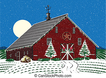 Christmas Farm - Winter on the farm with Christmas decor