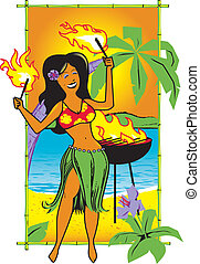 Hula Fire Girl - Cartoon of a hula girl with torches