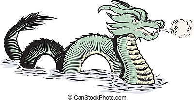 Old World Sea Dragon - Ancient map-style, sea serpent or...
