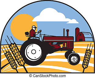Wheat Tractor - Simple art of a farmer on a tractor in a...