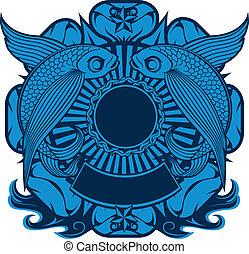voando, peixe, emblema