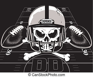Defense of Death - A death's head with footballs and helmet...