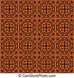 Bohemian Halloween Pattern - An orange and black ornamental...