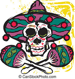 Calavera Maracas - A sugar skull with maracas and sombrero