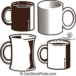 Coffee Mugs - Clip art collection of coffee mugs and cups