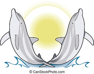 Sun Crossed Dolphins - Twin dolphins riding the waves with...