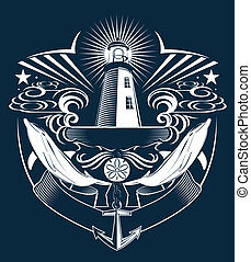 Lighthouse Crest - Coat of arms style art with an...