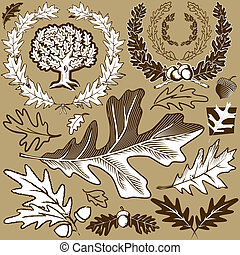 Oak Leaf Collection - Clip art collection with an oak leaf...