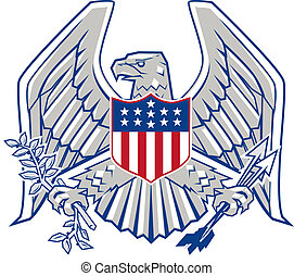 Patriotic Eagle - Eagle with shield, arrows and olive...