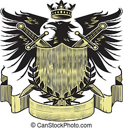 Kings Blackbird Crest - Coat of arms with a royal black bird