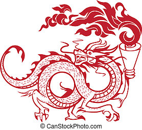 Torch Bearing Dragon - Asian style guardian dragon carrying...