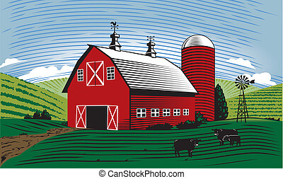 Barn Scene - A farm scene with barn, cattle and farmland