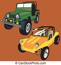 Jeep and Buggy - Dune buggy and old jeep