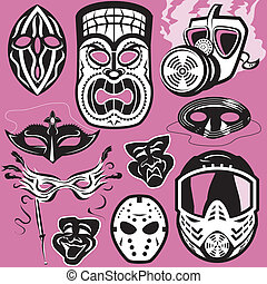 Mask Collection - Clip art collection of various masks
