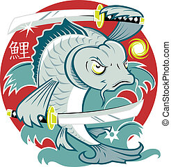 Samurai Koi Fish - Cartoon of a koi fish with samurai swords