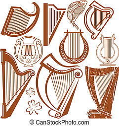Harp Collection - Clip art collection of various types of...