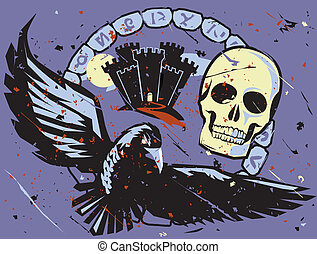 Dark Castle Emblem - Spooky castle with rune stones, raven...