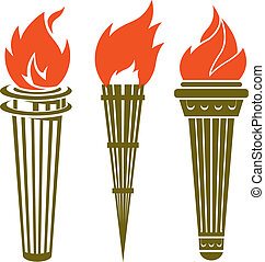 Torches - Collection of three long handled torches