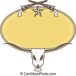 Ranch Label - Western label with a star, pistols, and cow...