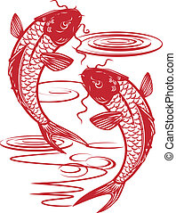 Twin Koi - Asian style illustration of twin fish swimming
