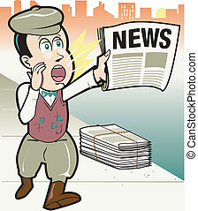 Retro Newsboy - Retro newsboy cartoon