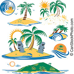 Seven Islands - Cartoon art of different tropical islands