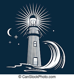 Lighthouse and Wave - Stylized night scene with lighthouse,...