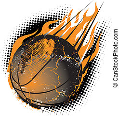 Basketball Meteor - A fiery basketball hurling through the...