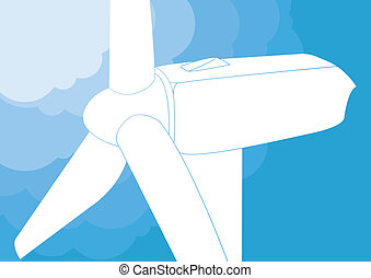 Wind turbine vector background
