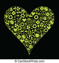Eco heart made of ecology icons