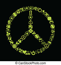 Eco peace made of ecology icons