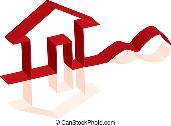 3D vector house with reflection for poster