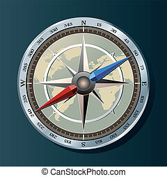 Silver compass background vector