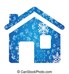 Vector winter house background