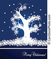 Snow tree vector background card
