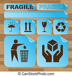 Safety fragile sticker icon set vector