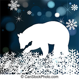 Bear in winter background vector with snowflakes