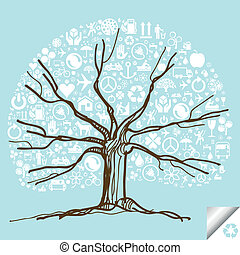 Colorful tree vector background vector