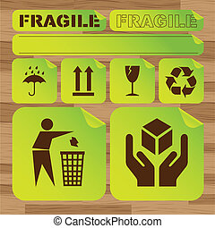 Safety fragile sticker icon set