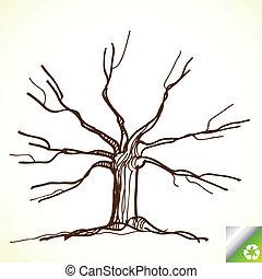 coloridos, árvore, vetorial, fundo